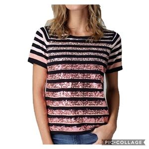 Lisa Todd Sequins Striped Short Sleeve Sweater